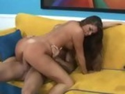 Alluring brunette Madelyn Marie getting pussy battered by a throbbing cock
