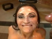 Horny whore Claudia Valentine gets her pretty face covered with cum and loves it