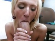 Cock loving blondie Ella Marie stuffs her mouth with a hard pole and enjoys it