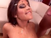 Lovely hottie Valentina Rossini receives an awesome spray of jizz on her face
