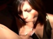 Bitchy party girl Heather Vahn fills her steamy mouth with a juicy huge cock