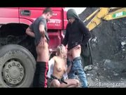 Construction Sight Public Threesome. Awesome!