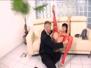 Secretary Aletta Ocean in red lingerie fucking at work