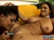 Busty Ebony Lesbians w/ Toys