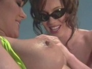 MILFs taking a sun bath outside and eating pussy juice