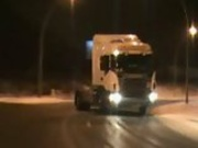 Huge Semi Drifts on Icy Road