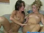 Lesbo double dildo action