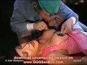Wild brunette babe in a rough orgy!