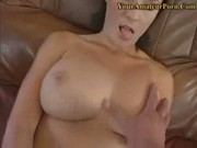 Busty girlfriend giving the best handjob