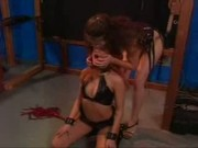 Kinky lesbian punished & bound