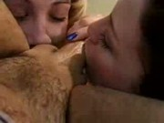 Alisha Klass and two of her hot girlfriends sucking one cock