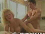 Blond Milf Rides A Dick At The Dinner Table