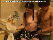 Hot college girl gives head in the kitchen