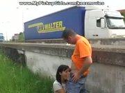 Euro Slut Fucks On Side Of Highway