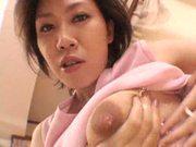 Asian milf makes her milk crates gush!