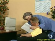 Crazy Old Mom Gets Cock Fucked in the Office