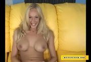 Blonde slut sucking a tiny dick