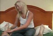 Blonde teen rubbing cock