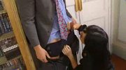 Euro Babe Watches As Her Boss Gets Nailed