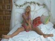 Insane blonde in pantyhose