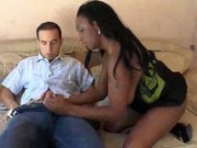 Naturaly busty black chick hardcored on the couch