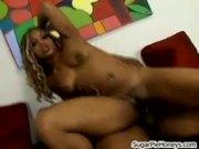 Horny Ebony Gets Pussy Creampied