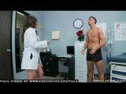 Busty Brunette Doctor sucks & swallows patient's cock for cum taste test