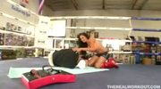busty kick boxer rammed hard by her coach in the boxing ring