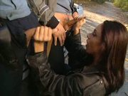 Brunette Nailed By 2 Euro Cops
