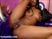 Ass toying and pussy gapping ebony teen