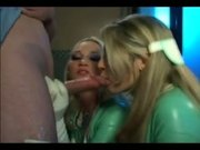 Two blonde nurses in latex lingerie and gloves in a ffm threesome