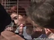 Thirsty Cagegirl Begs For More Jizz