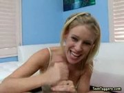 Hot Pov blonde babe rub and tug