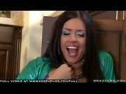 Busty Eva Angelina rubs herself while flirting with the plumber