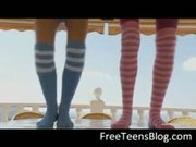 Two teens in knee socks dildoing ass