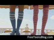 Two teens in knee socks dildoing ass