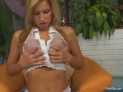 Bra bustin blondie teases and plays