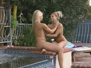 Blonde Lesbians Play In Water