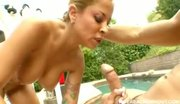 hot pumping on her trainers cock by the pool