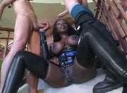 Busty Ebony Gets White Meat Injections