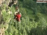 Acrobatic Couple Fuck Over The Cliff Drop