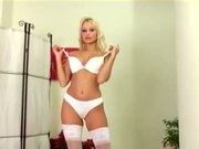 Blonde MILF Jana Cova masturbates in white stockings and heels