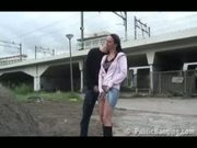 Extreme public-sex by a railroad