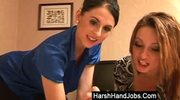Two ladies giving a harsh handjob
