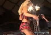 Ugly guy gets beauty stripper teasing on the stage