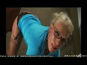 Big Tit Blond Professor in stockings gets oiled up and fucked in her ass