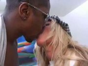 Tight sexy eruo-blonde takes a hard black cock