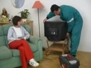Teen girl fucks the TV Repair guy