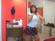Sexy schoolgirl striptease!