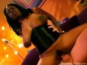 Chubby big tits black MILF fucked by a lucky white guy
